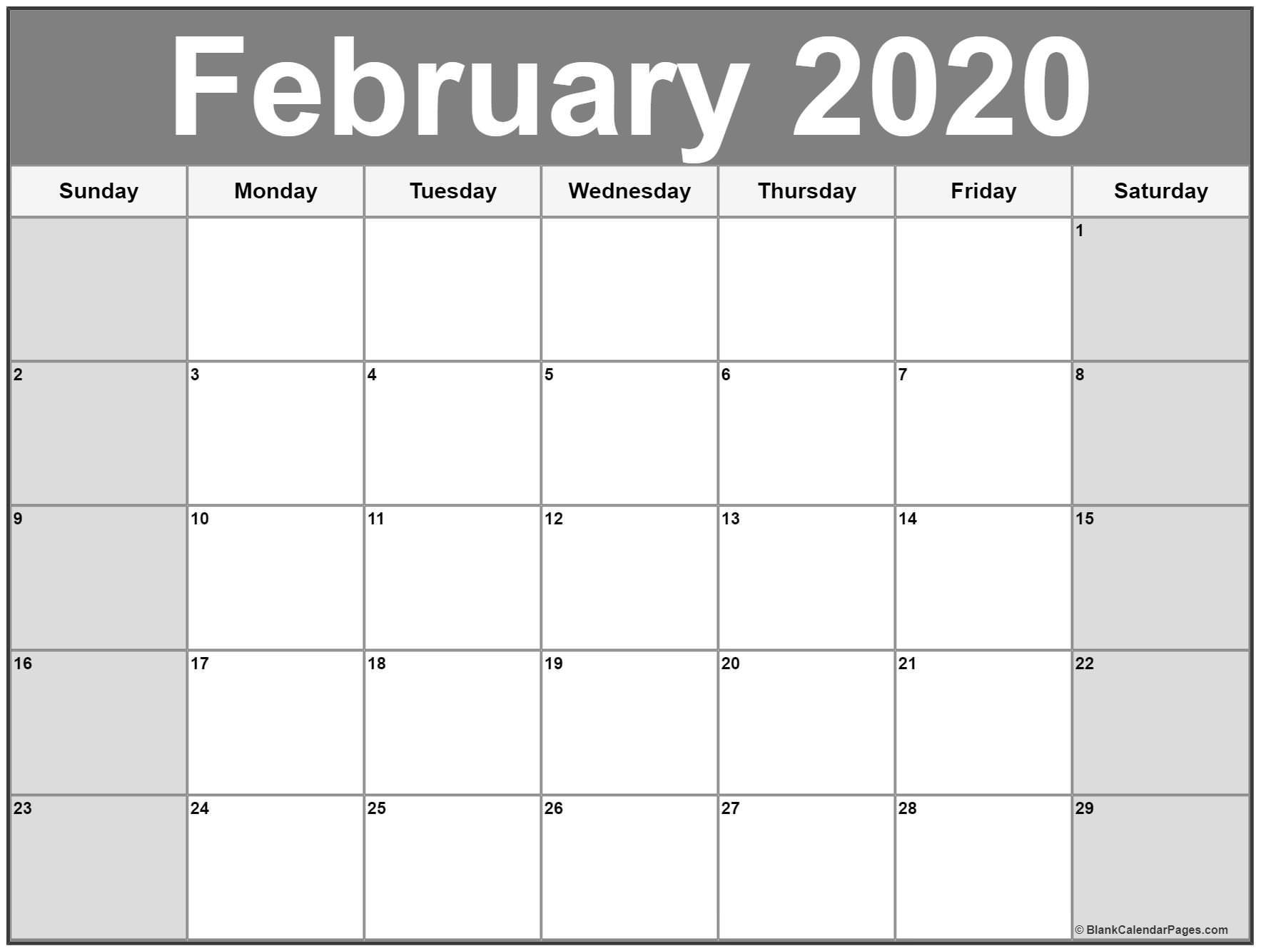 February 2020 Printable Calendar Cute.Free Monthly February Calendar 2020 Printable Template