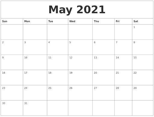Free 2021 PDF May Calendar