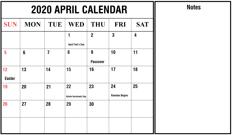 Free Blank April Calendar 2020