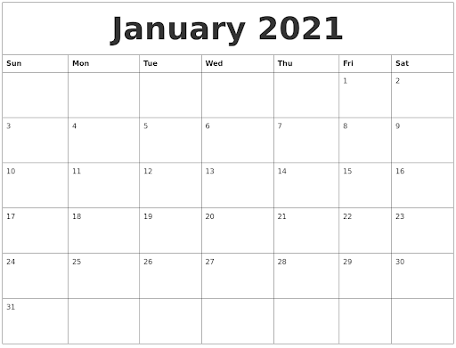 Free Monthly Blank January Calendar 2021 Printable Template