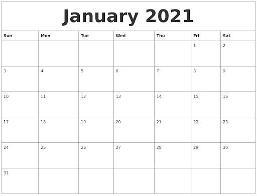 Free Printable January Calendar 2021 PDF