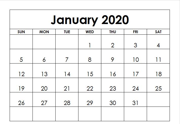 January 2020 Calendar A4 Page