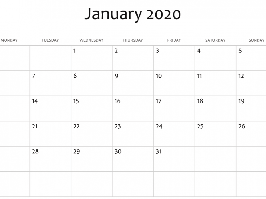 January 2020 Calendar Download
