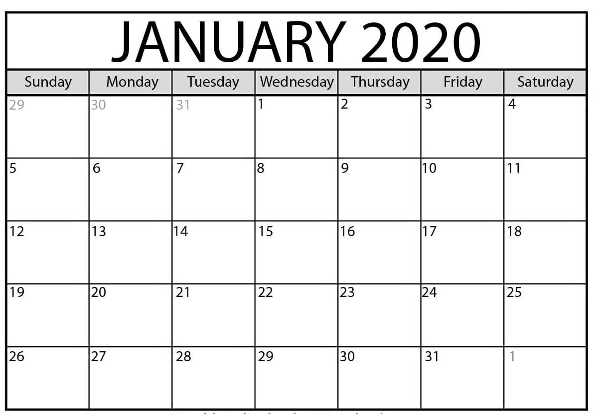 January 2020 Calendar Printable