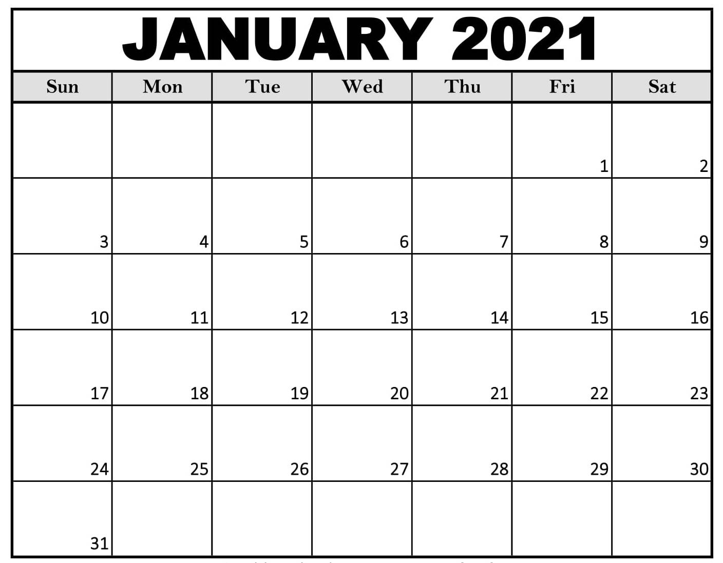 January 2021 Calendar US Holidays Printable