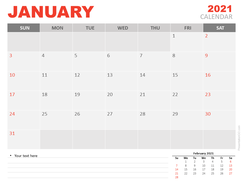 January 2021 Calendar for PowerPoint