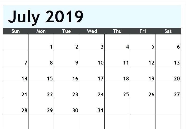 July 2019 Printable Calendar Excel
