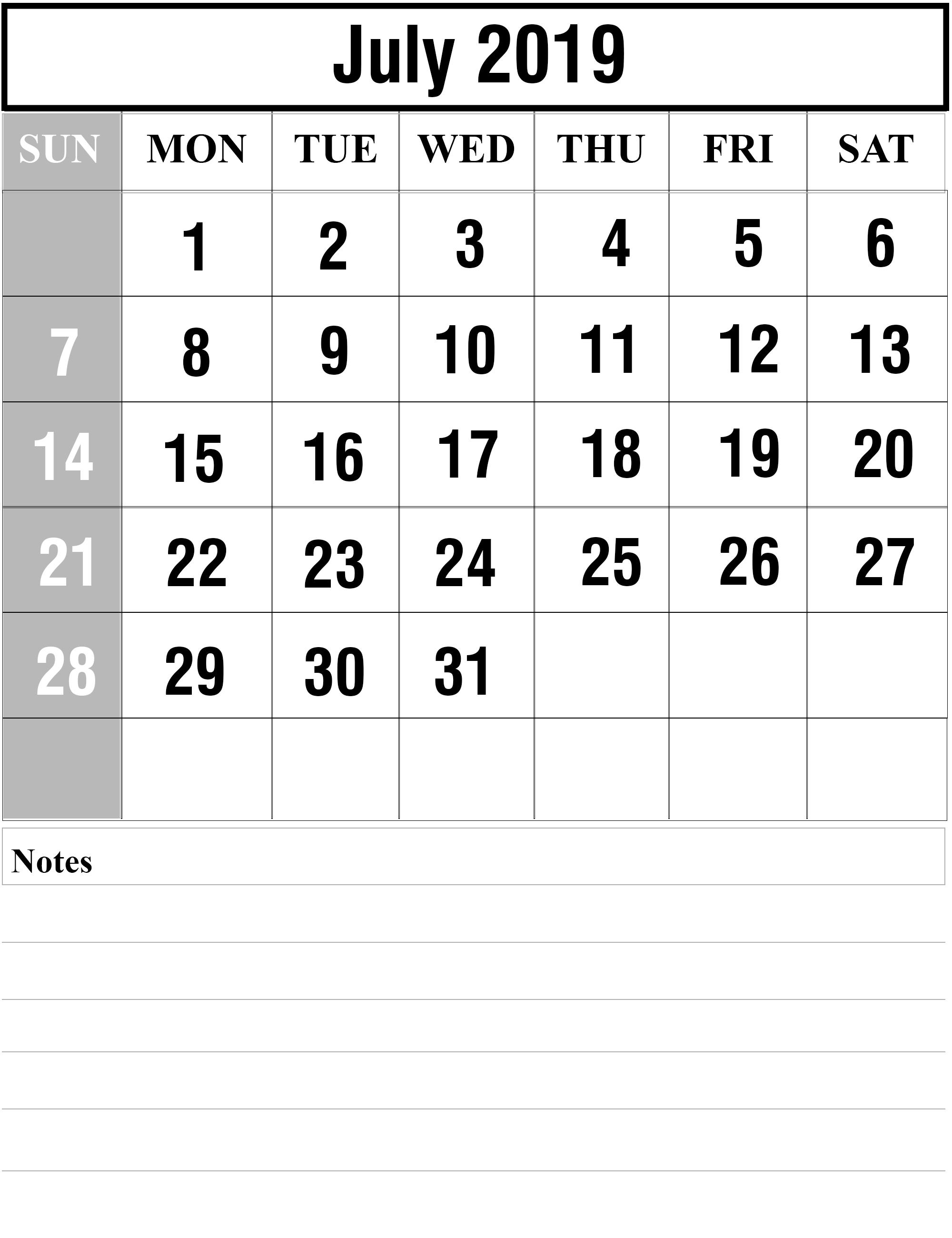 July 2019 Printable Calendar To Do List