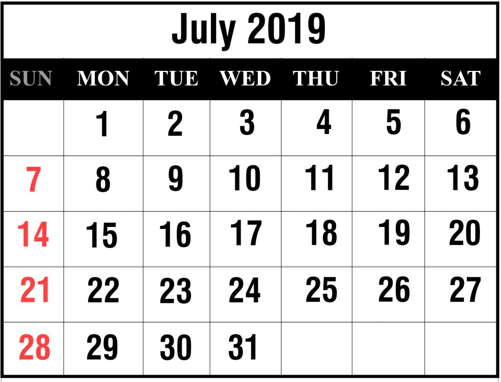 July 2019 Printable Calendar Landscape