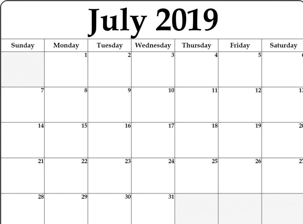 July 2019 Printable Calendar PDF