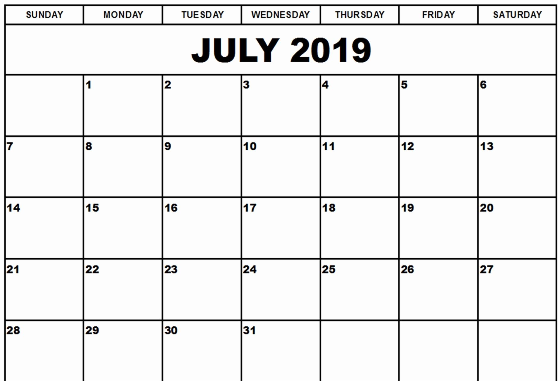 July 2019 Printable Calendar Portrait
