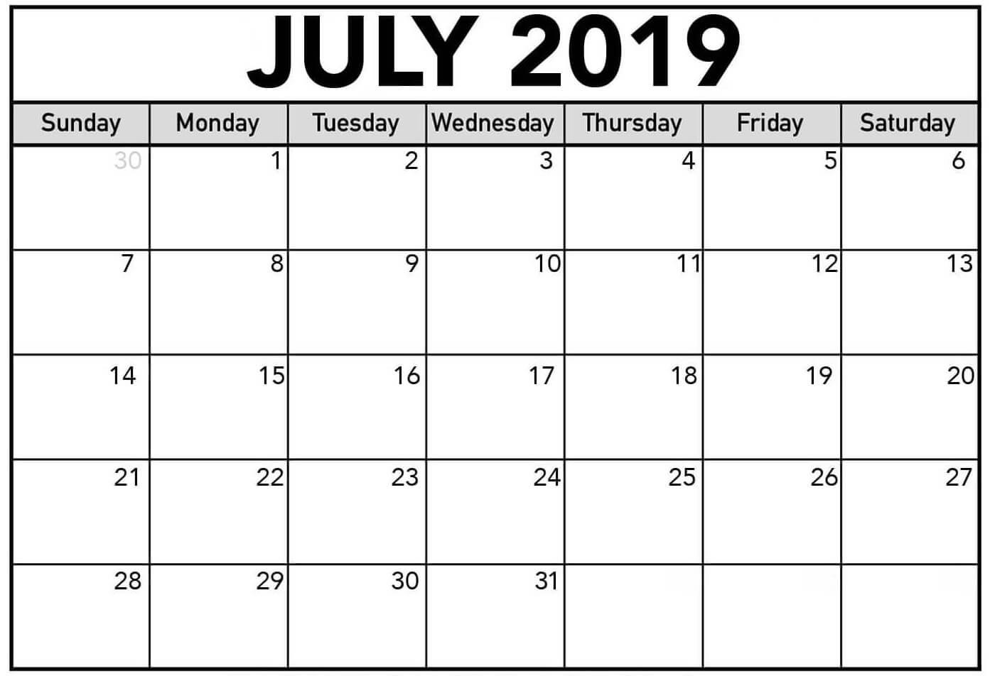 July 2019 Printable Calendar Word