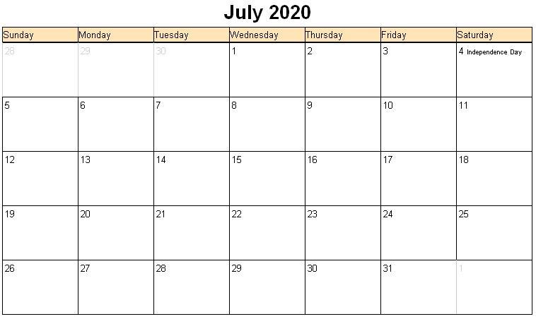 July 2020 Calendar Free Printable