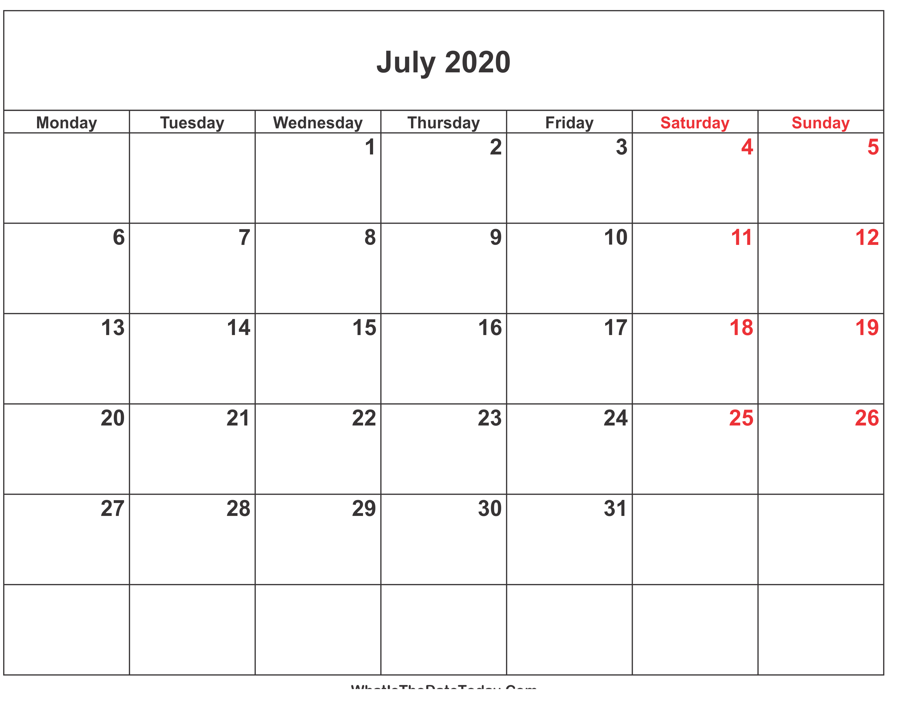 July 2020 Printable Calendar Excel