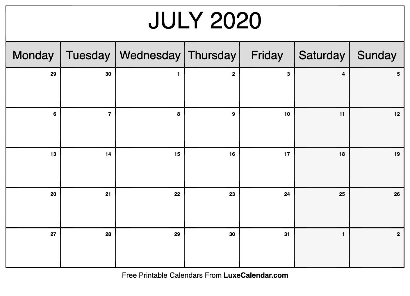 July 2020 Printable Calendar PDF
