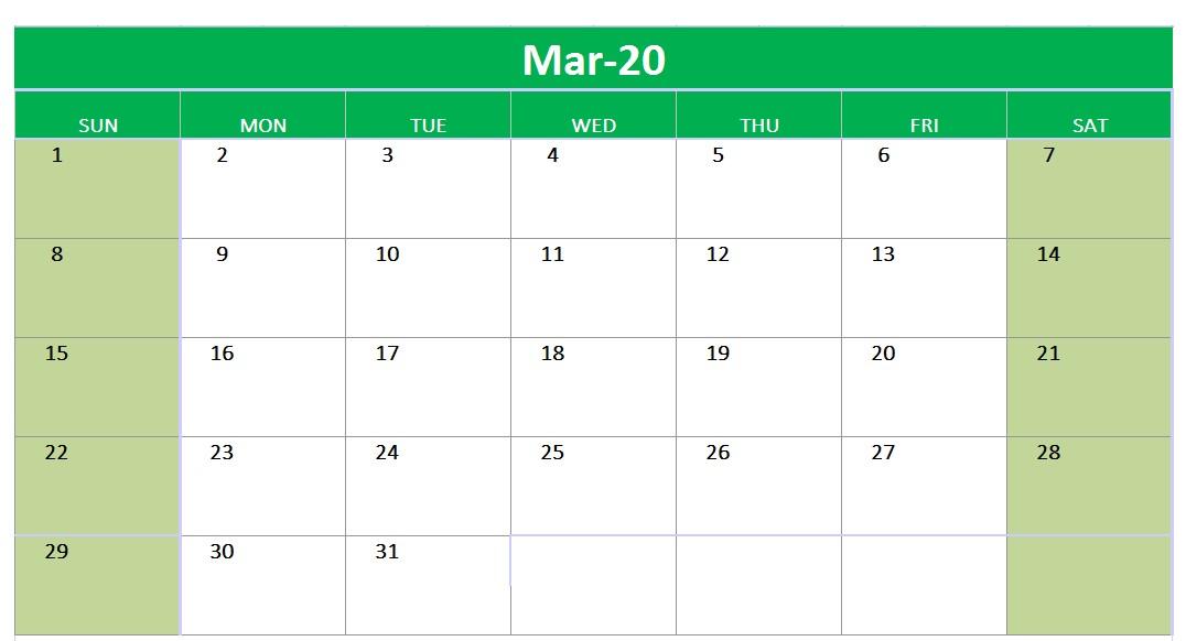 Mar 2020 Calendar Printable Template