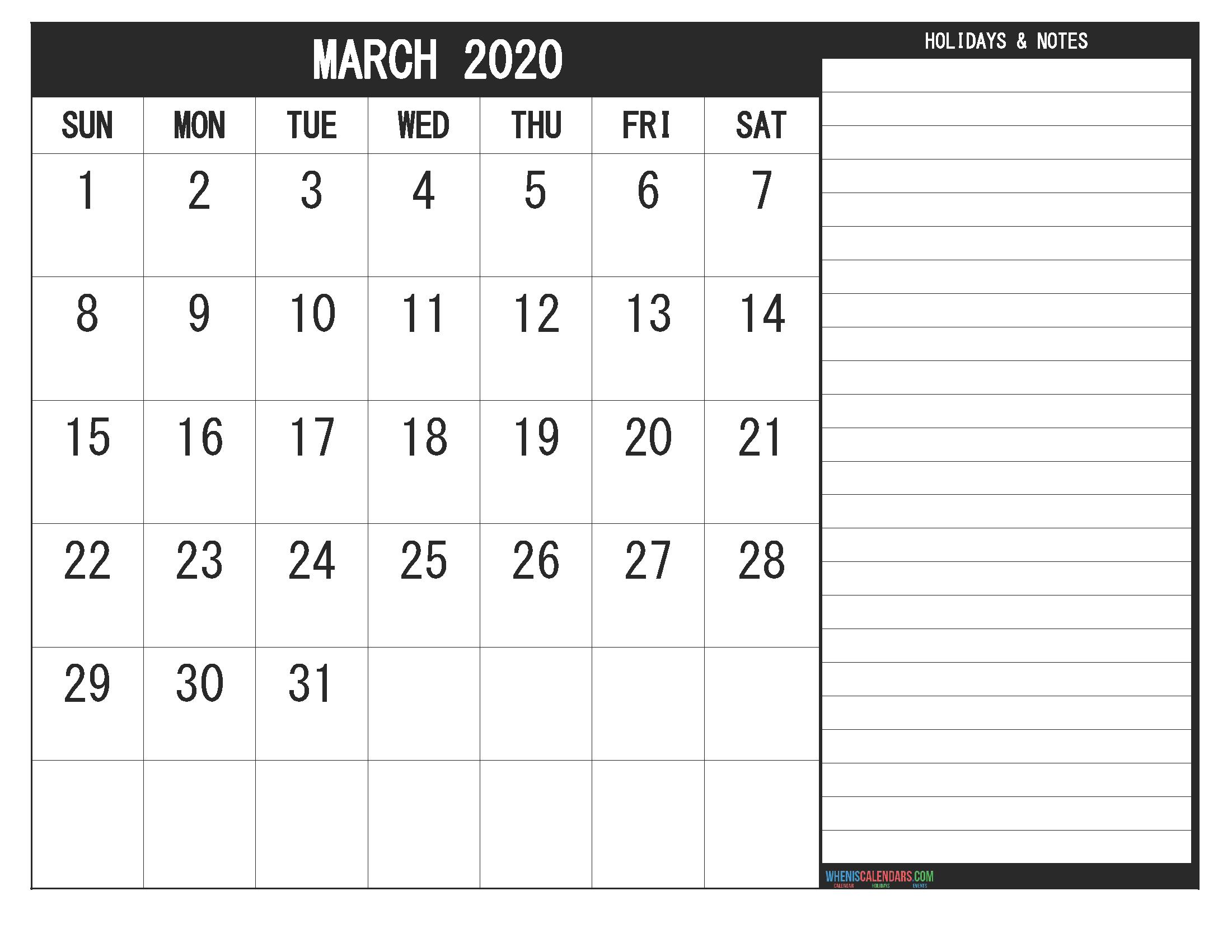 March 2020 Fillable Calendar