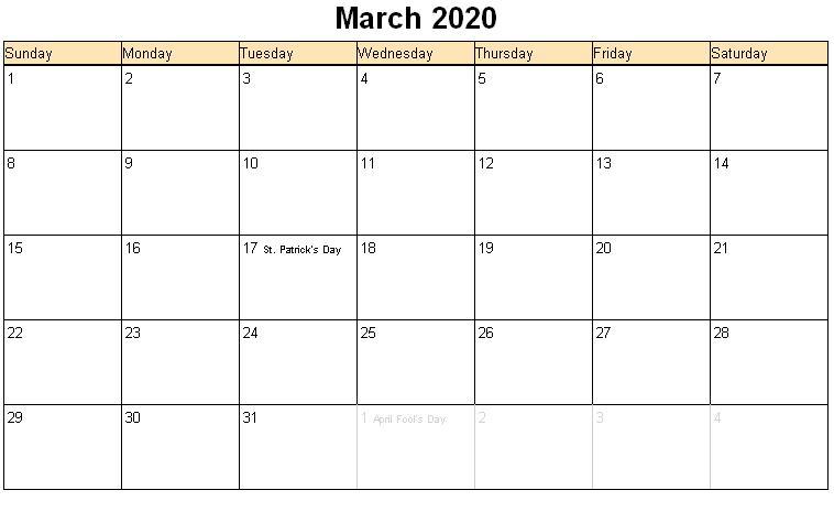 March 2020 Free Printable Calendar