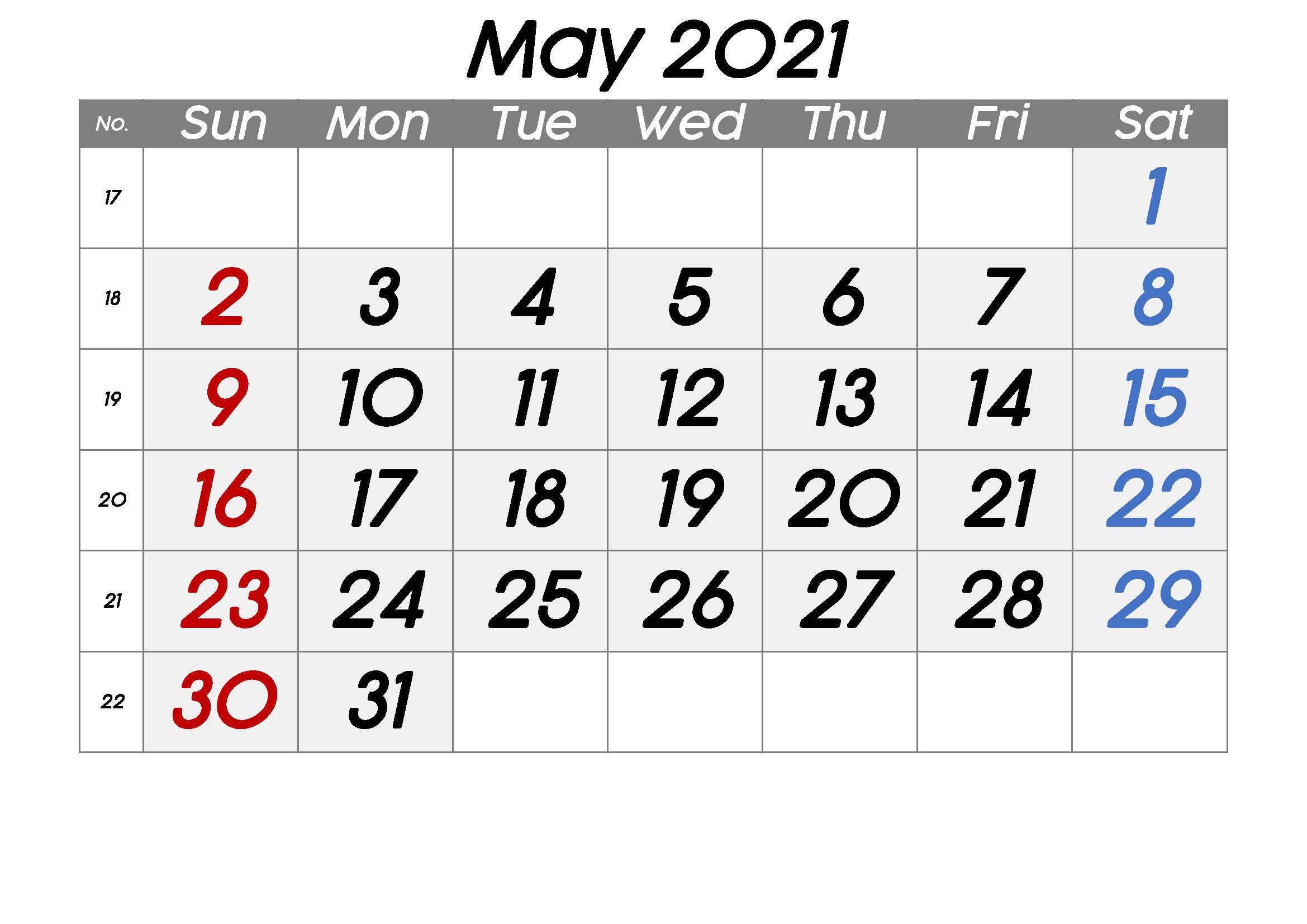 May 2021 Blank Printable Calendar
