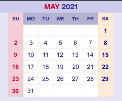 May 2021 Monthly Calendar Template