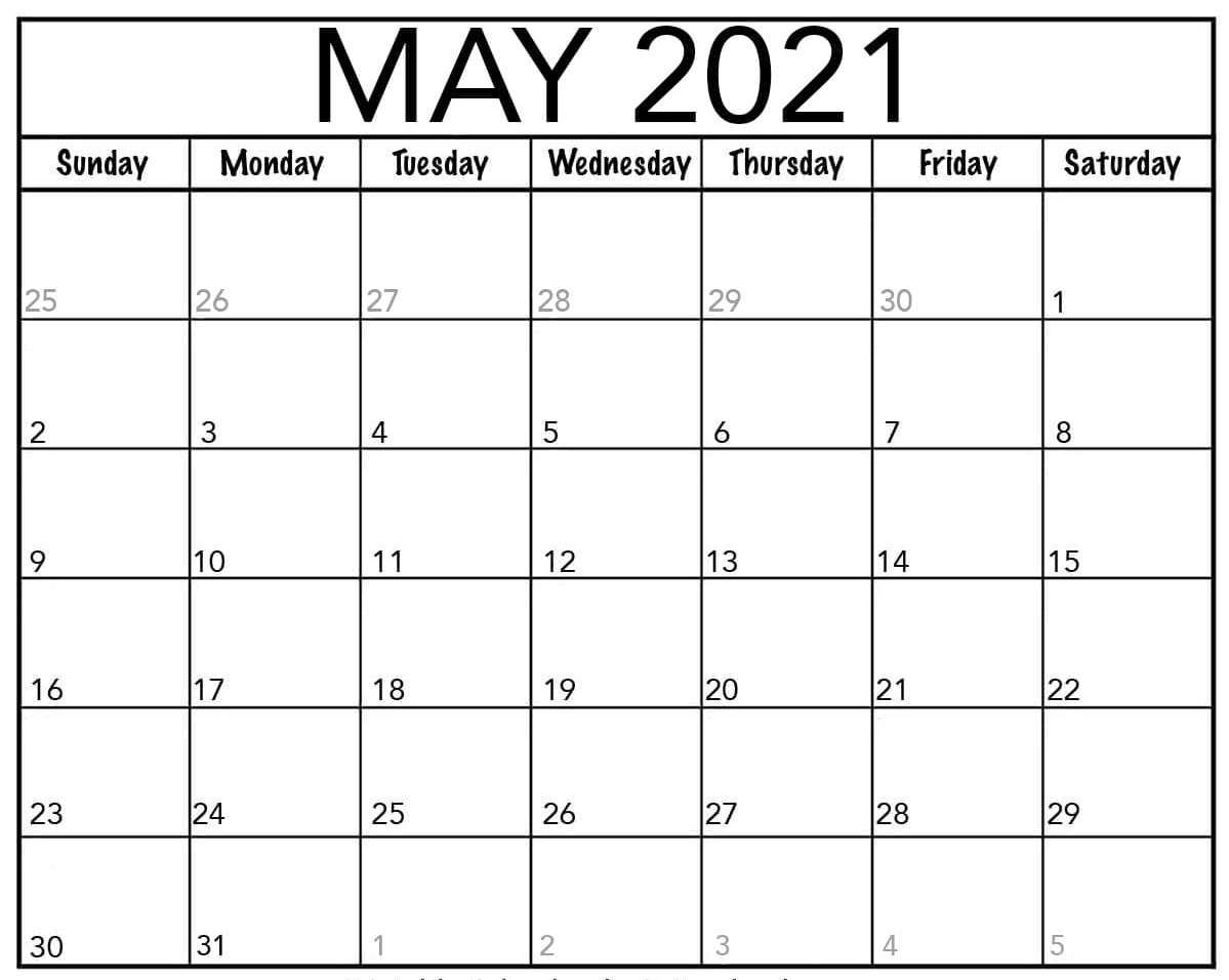 Monthly Calendar May 2021 Blank Template