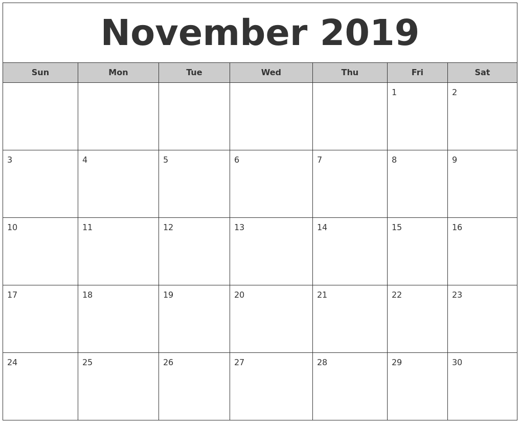 November Calendar 2019 Printable