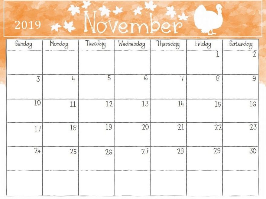 picture regarding Nov Calendar Printable Pdf named Cost-free November Calendar 2019 Printable Template Blank PDF