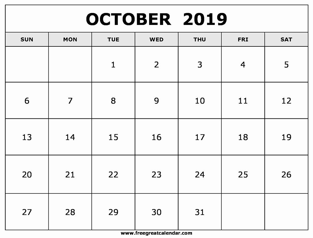 October Calendar 2019 Landscape