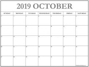 Free Printable October Calendar 2019