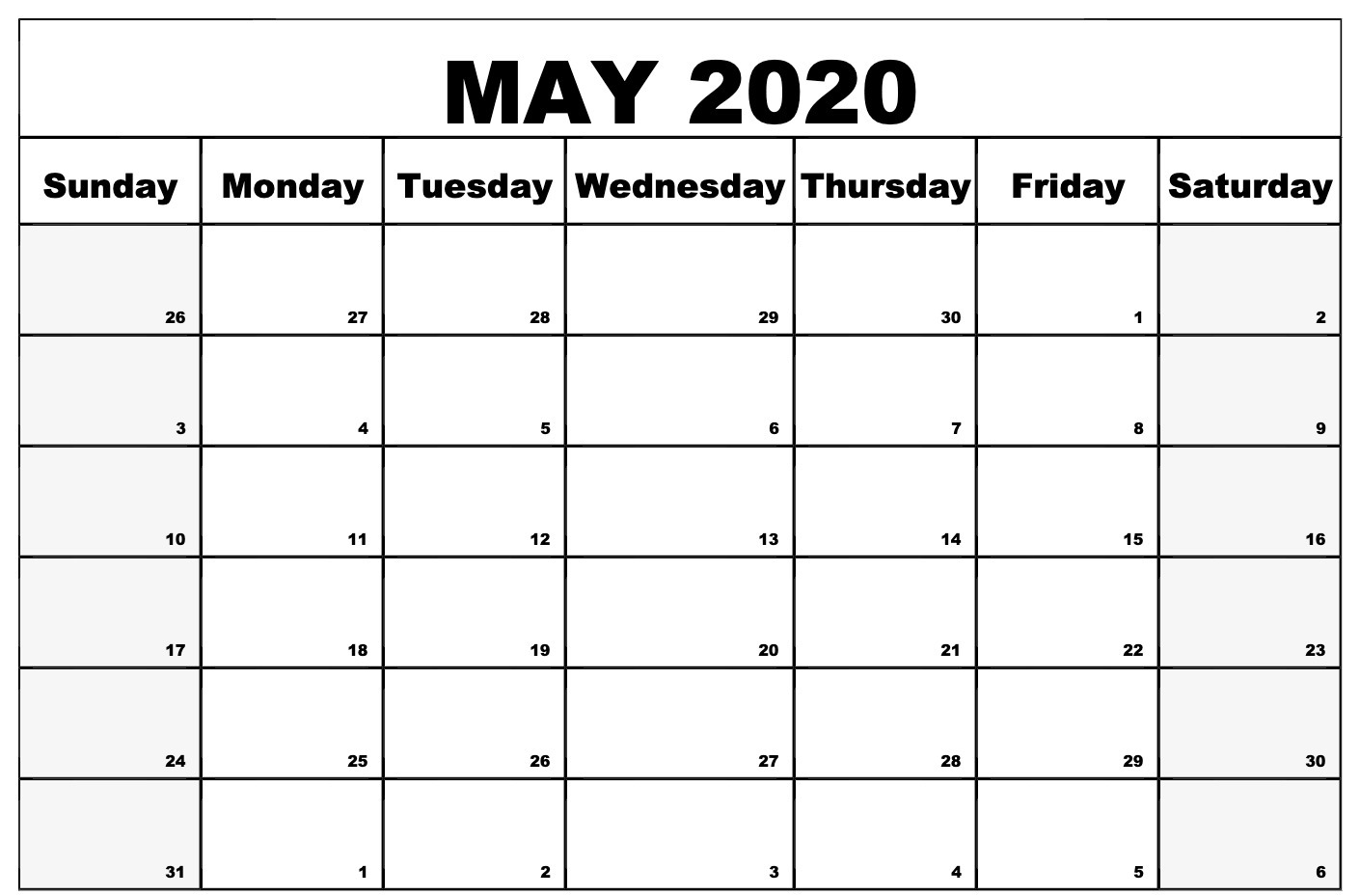 Printable May Calendar 2020 Word