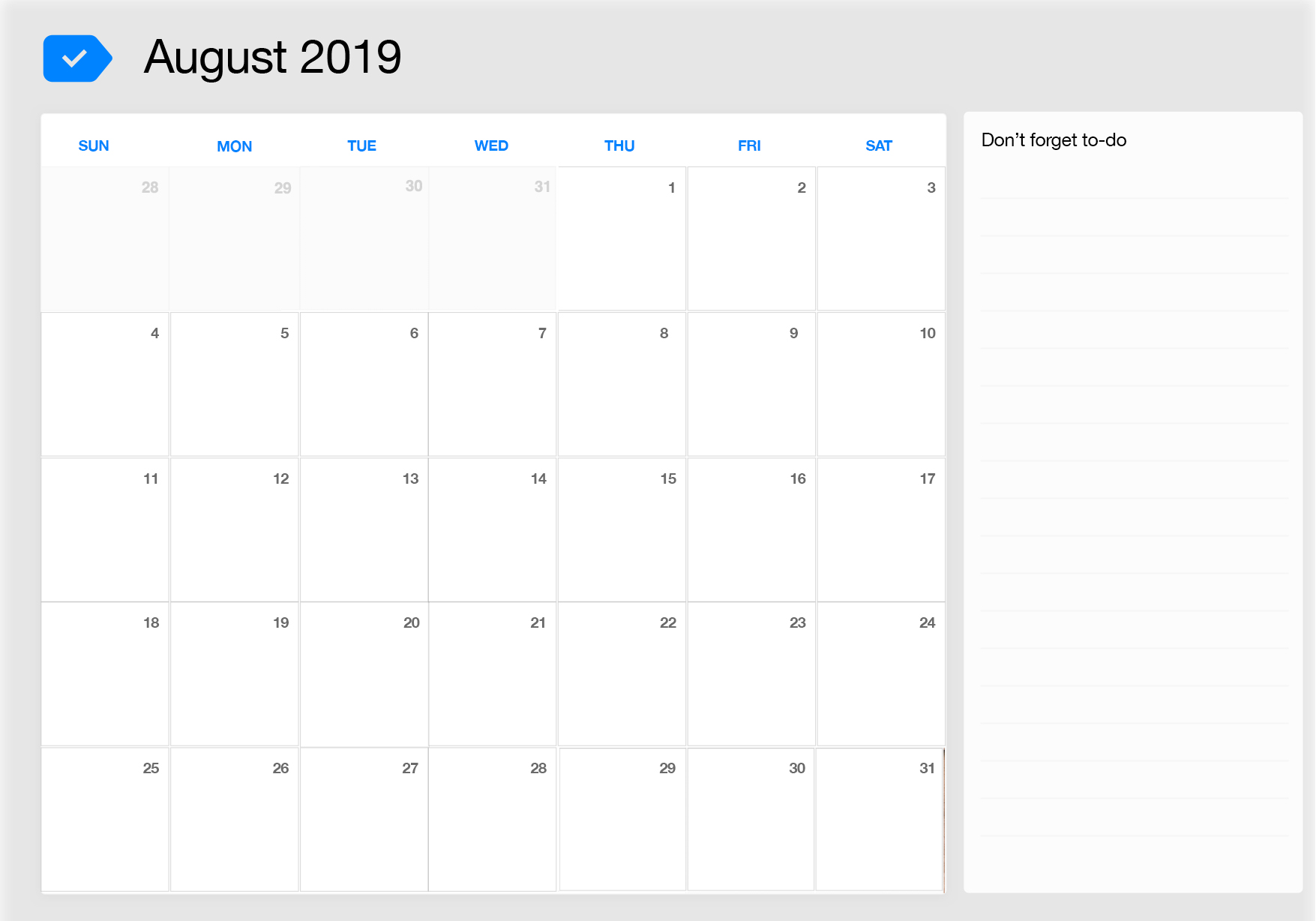 Fillable August 2019 Calendar with Large Notes