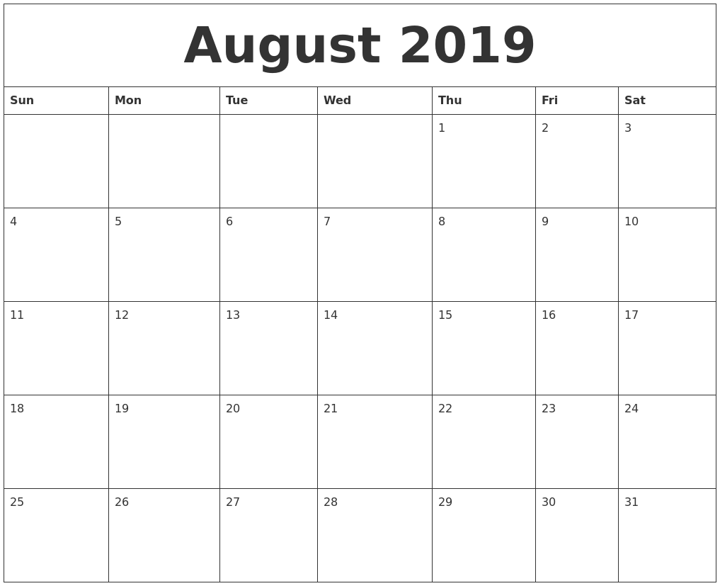 August 2019 Fillable Calendar