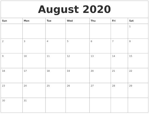 August 2020 Editable Calendar Template