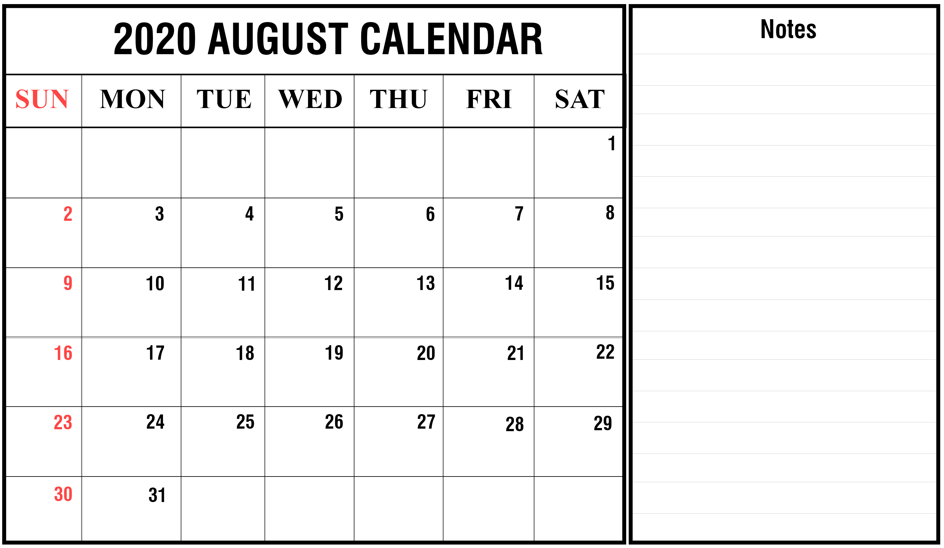 August 2020 FIllable Calendar with Notes