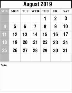 Fillable August Calendar 2019 Template