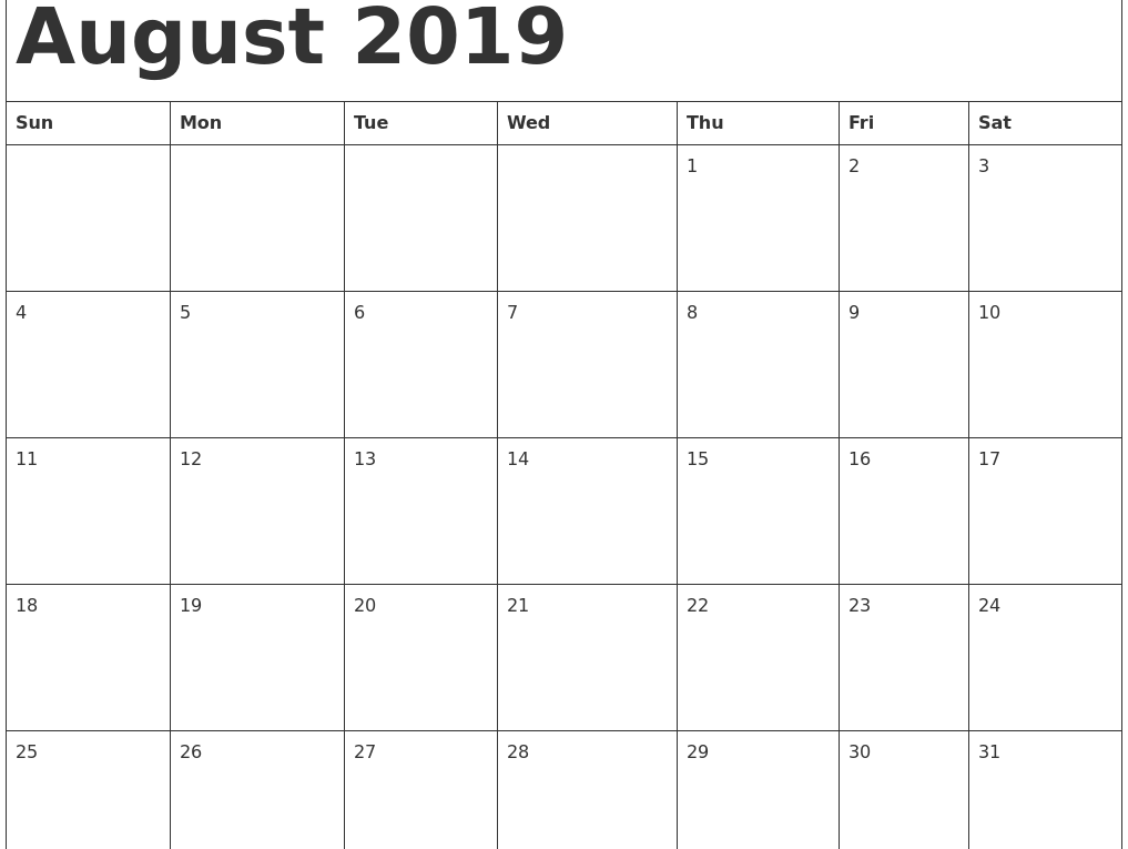 Fillable August 2019 Calendar with Notes