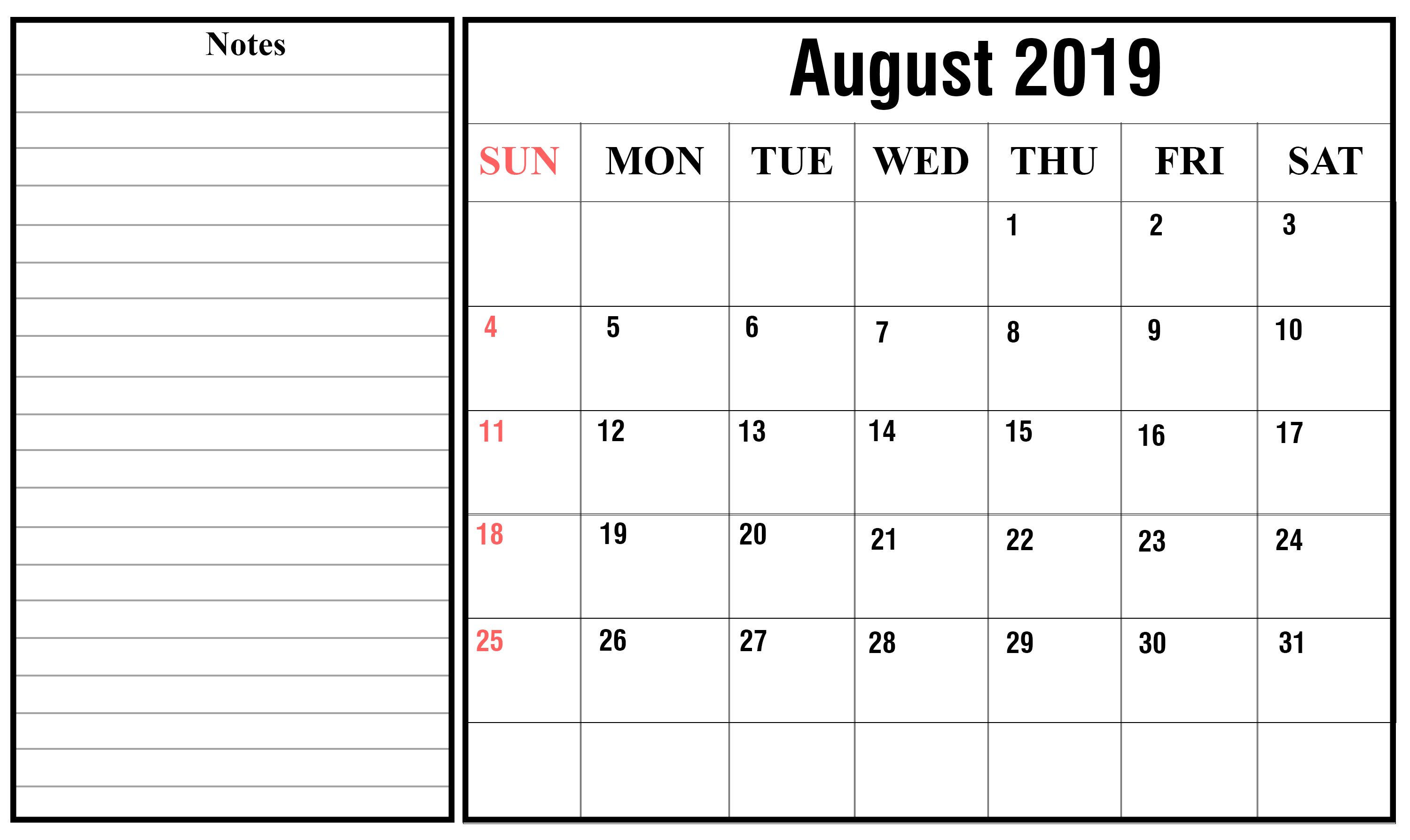 Fillable August Calendar 2019 Editable