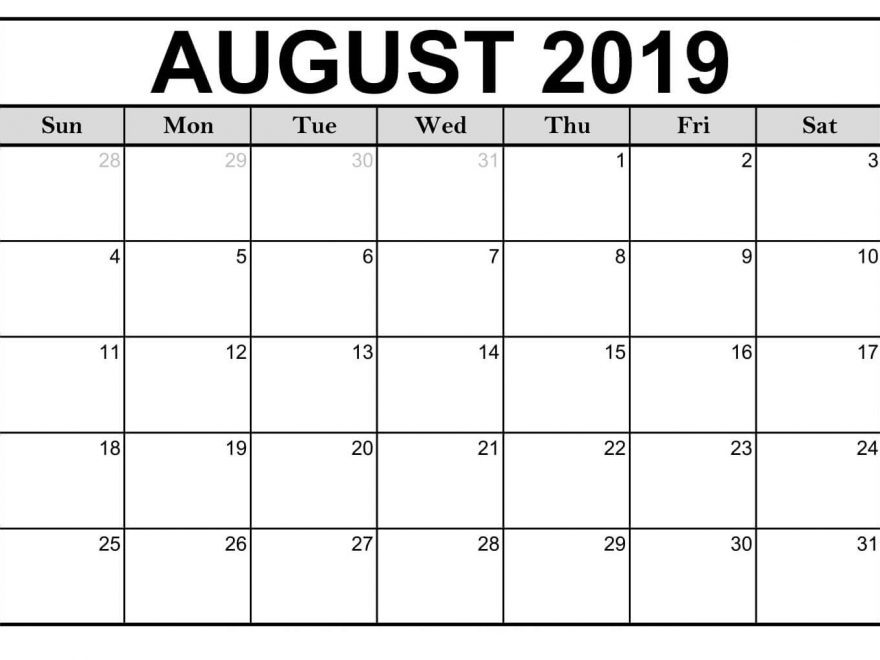 Fillable Calendar August 2019