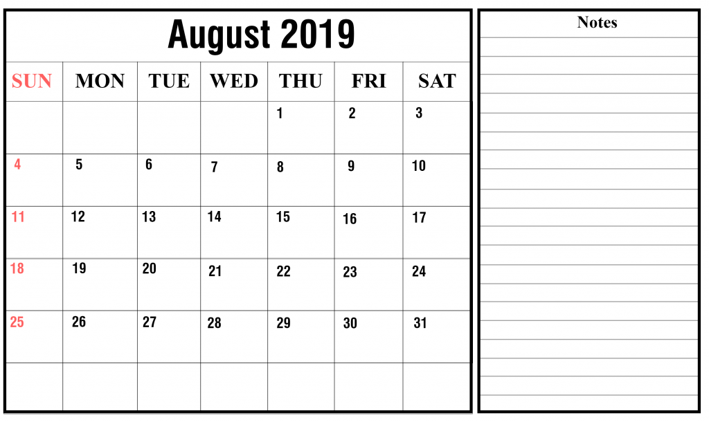 Fillable Calendar For August 2019