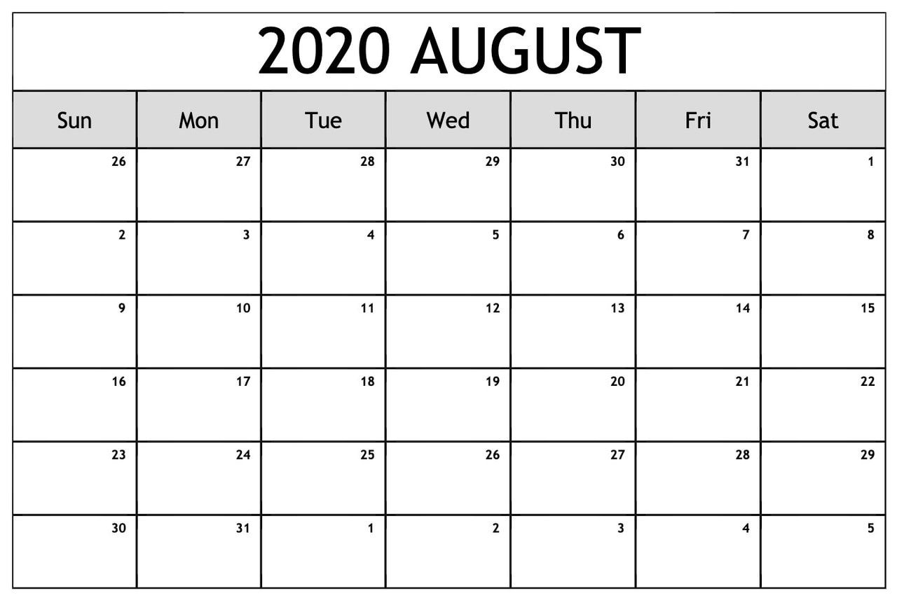 Free August 2020 Calendar Large Date Box