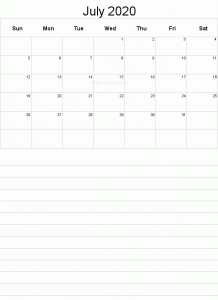 July 2020 Calendar Printable with Notes