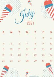 July 2021 printable calendar colorful design