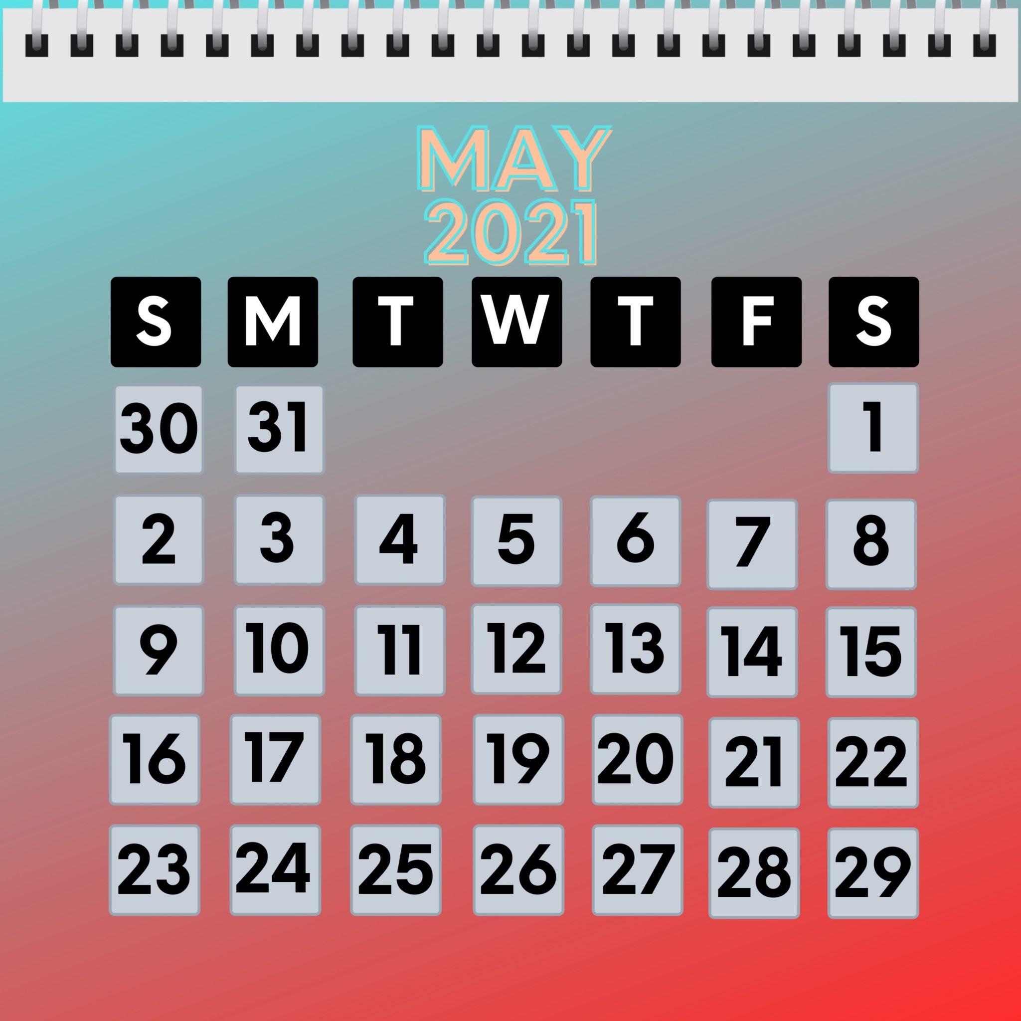 May 2021 iPad Calendar Wallpaper