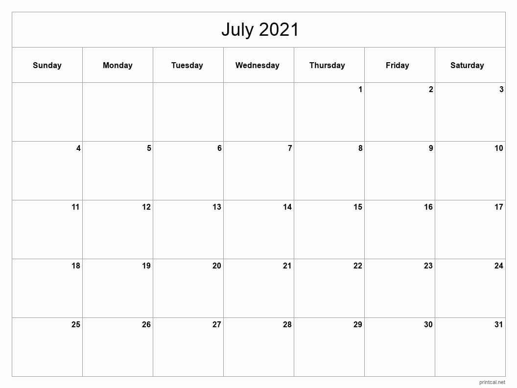 Printable july 2021 caelndar