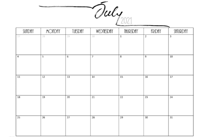 blank July calendar 2021