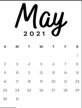 Blank Calendar May 2021 Portrait