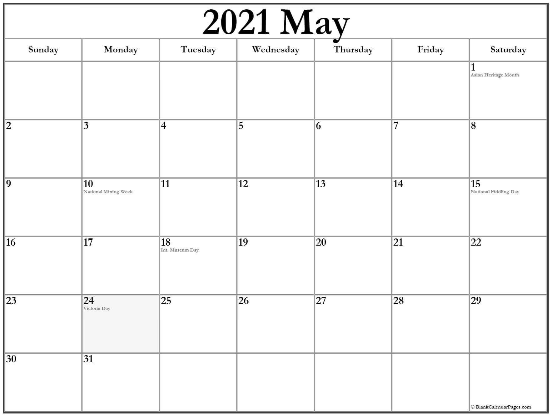 Calendar May 2021 Printable Template
