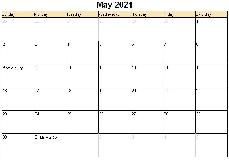 Calendar May 2021 Printable
