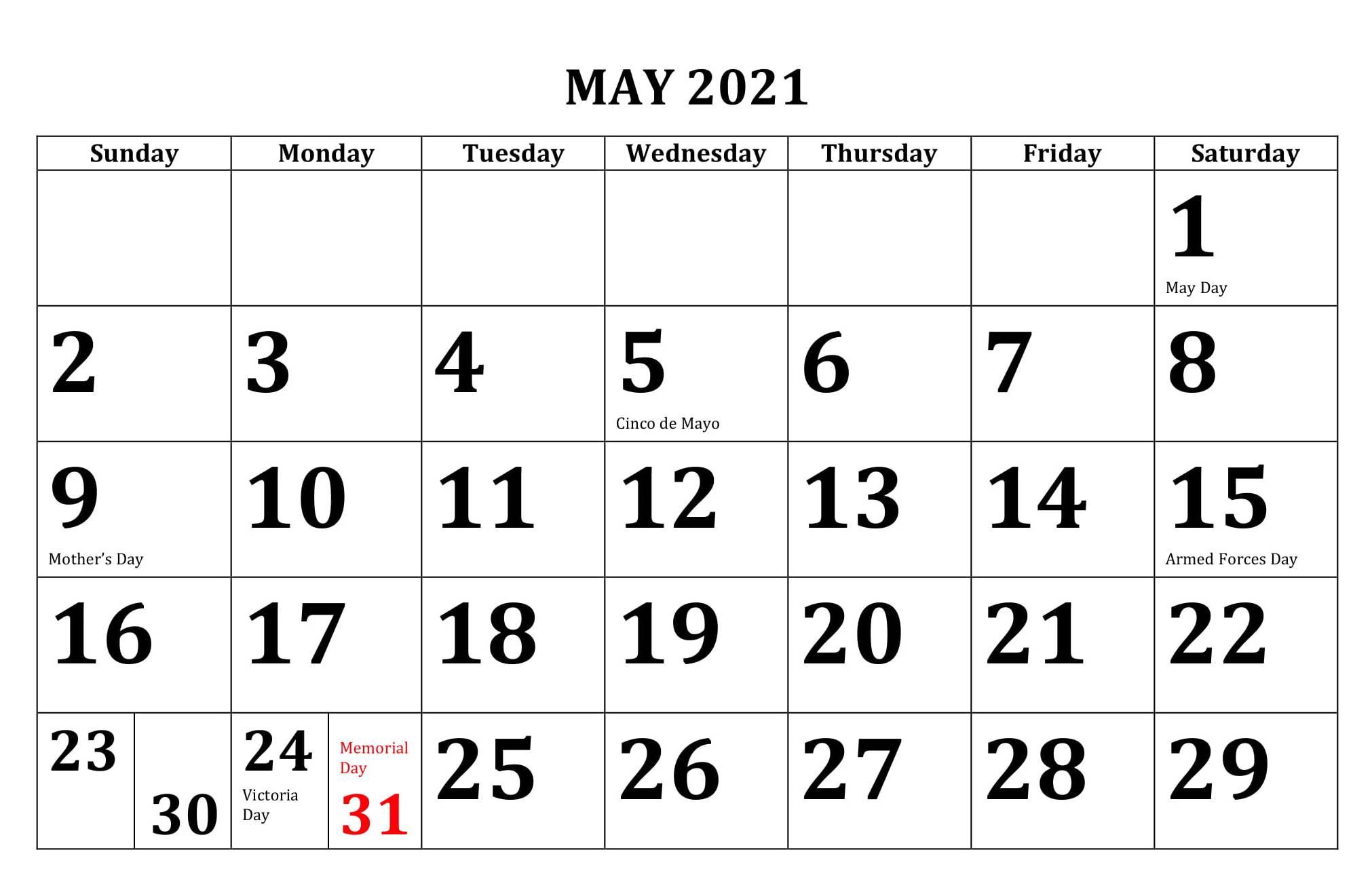Calendar May 2021 Template Word