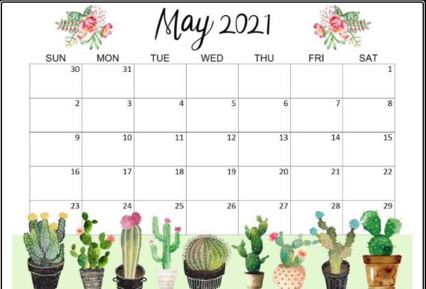 Cute Calendar May 2021